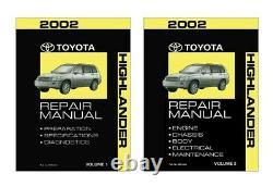 2002 Toyota Highlander Shop Service Repair Manual Book Engine Drivetrain OEM