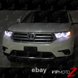 For 11-13 Toyota Highlander Dual Halo U-Bar Angel Eye Projector Headlight Black