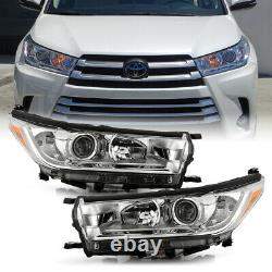 PairFactory Style Projector Headlights For 2017-2019 Toyota Highlander LE XLE